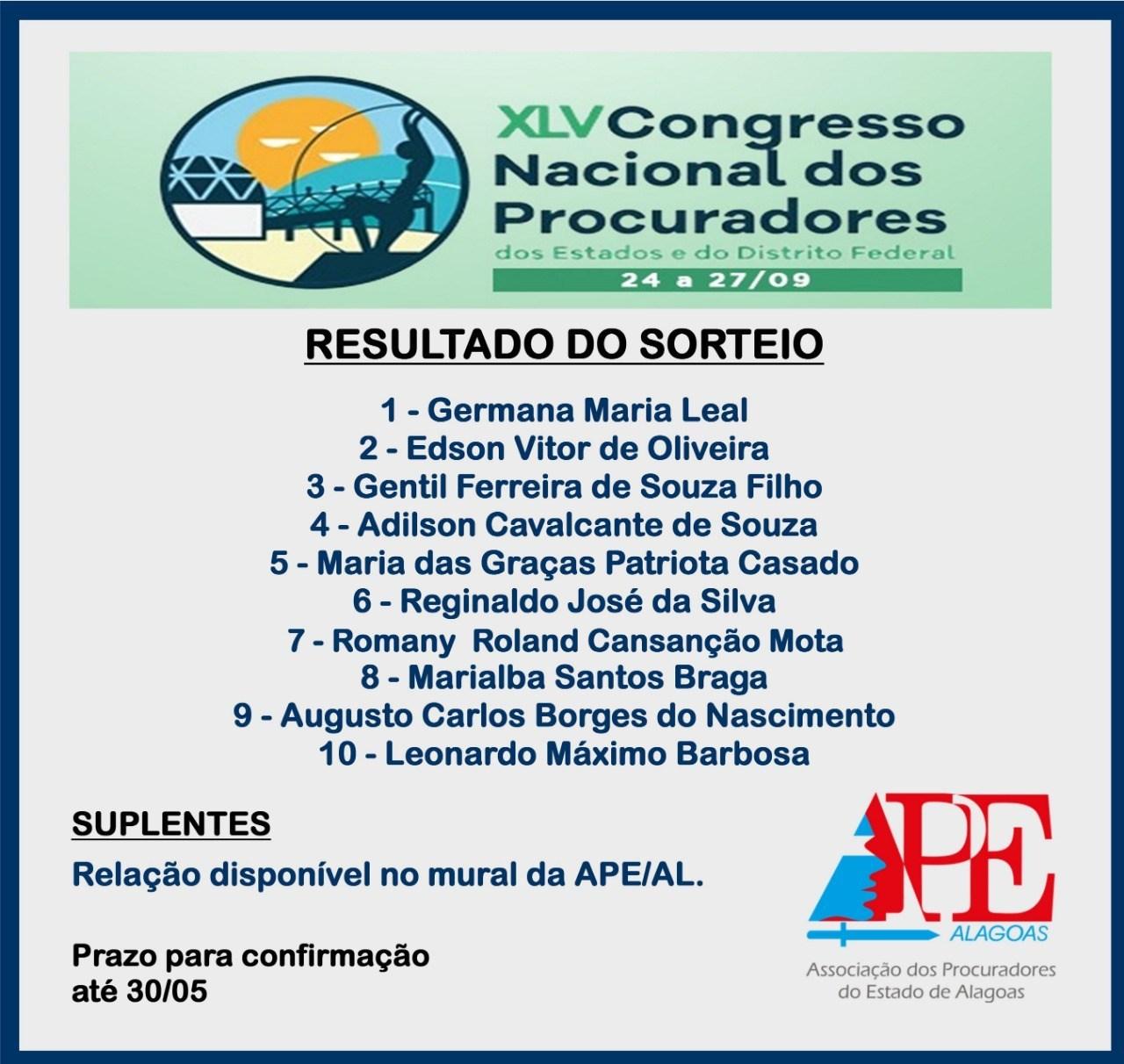 APE-AL incentiva participação de procuradores em Congresso Nacional