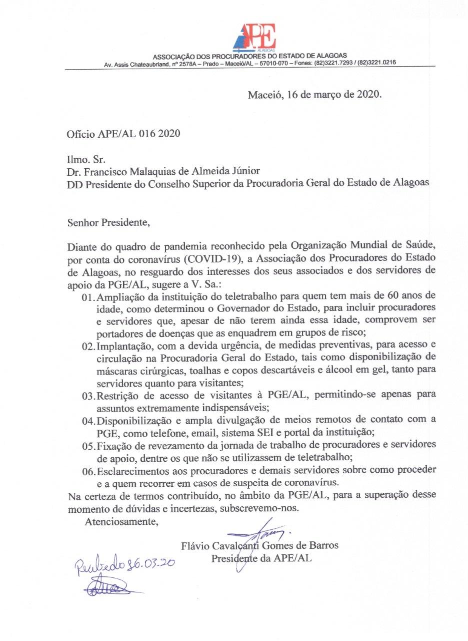 APE solicita a implantação de medidas preventivas de combate ao COVID-19